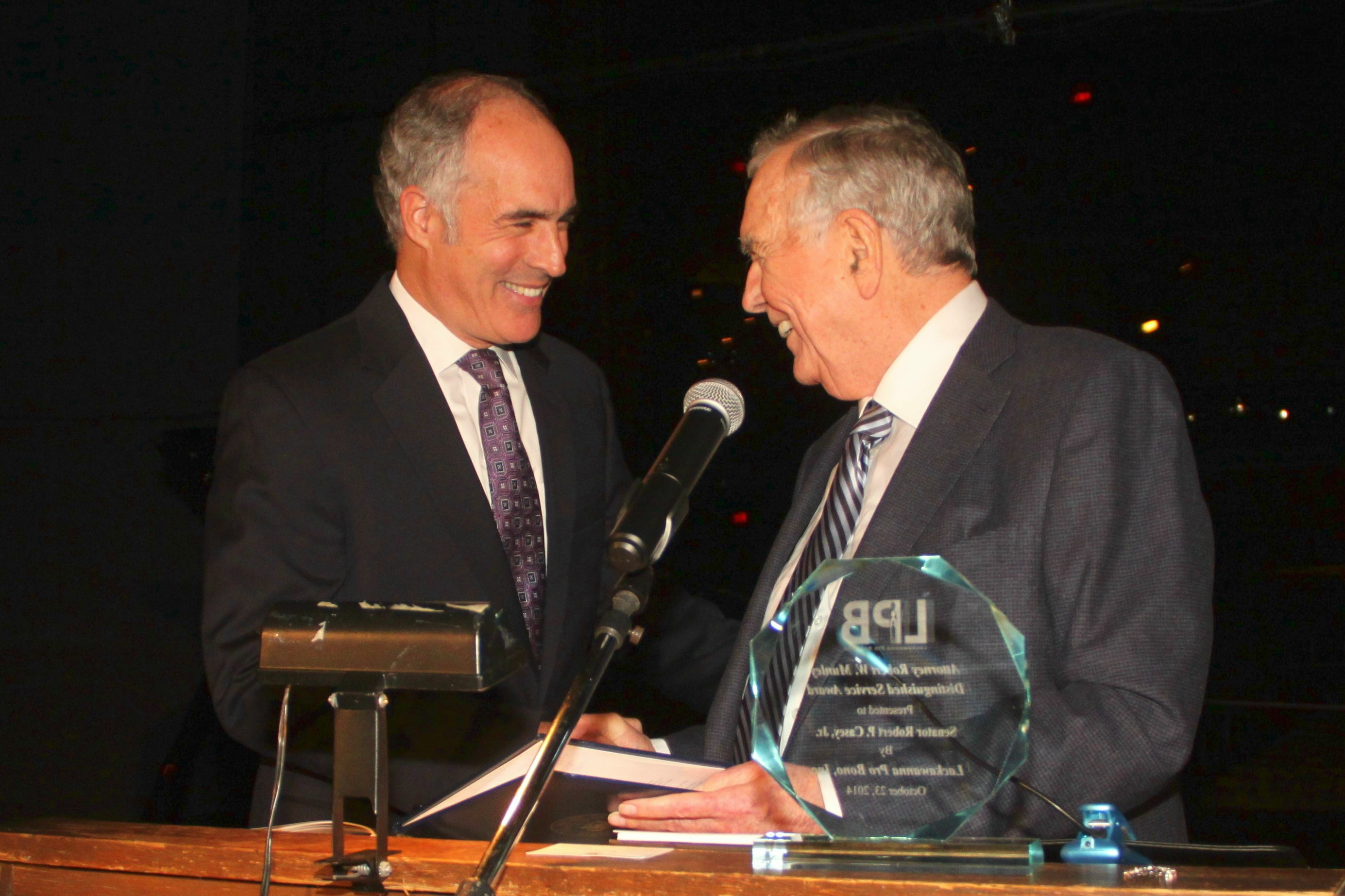 Attorney Robert W. Munley Presents Award to Senator Robert P. Casey, Jr.